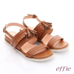 effie 個性涼夏 流蘇真皮輕量軟Q涼鞋 茶色