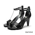 達芙妮DAPHNE 涼鞋-錐形鞋跟一字帶涼鞋-黑