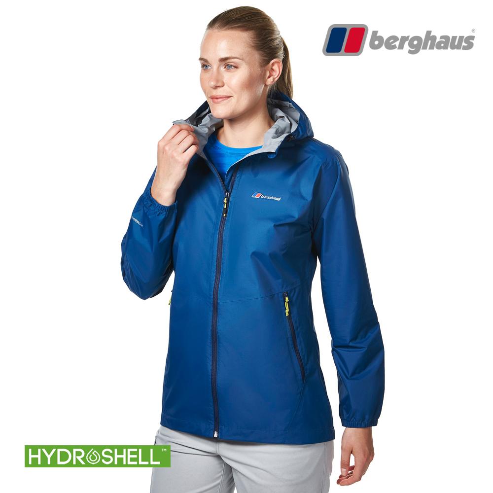 【Berghaus貝豪斯】女款HS輕量防水透氣連帽外套H22FS6深海藍