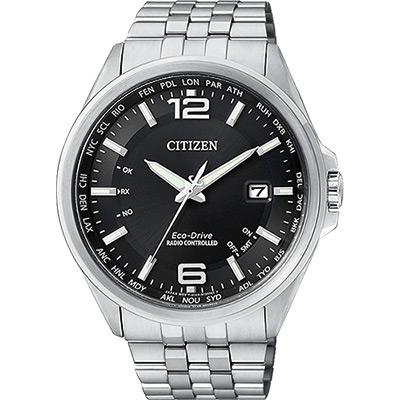 CITIZEN Eco-Drive光動能萬年曆電波錶(CB0011-77E)-黑/43mm