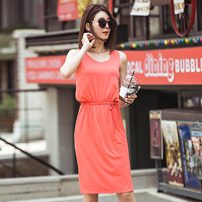 正韓 雪紡純色收腰綁繩背心洋裝 (共三色)-N.C21