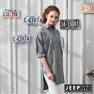 JEEP 女裝 幾何圖形長版襯衫-灰色