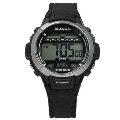 JAGA 捷卡 酷黑獨立個性電子橡膠腕錶-黑色/38mm