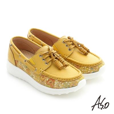 A.S.O 輕量抗震 真皮花皮拼接奈米健走休閒鞋 正黃色