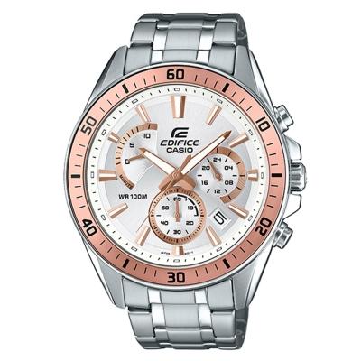 EDIFICE 極速時尚魅力俐落帥氣指針腕錶(EFR-552D-7A)金框X白面47mm