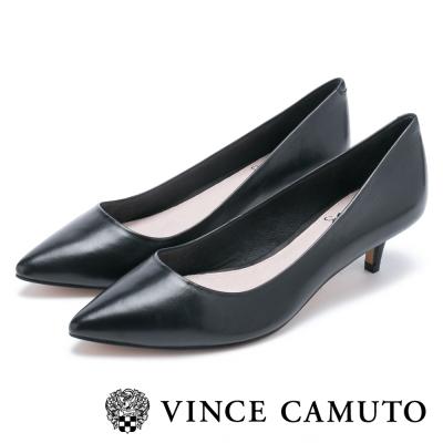 VInce Camuto 真皮素面尖頭中跟鞋-黑色
