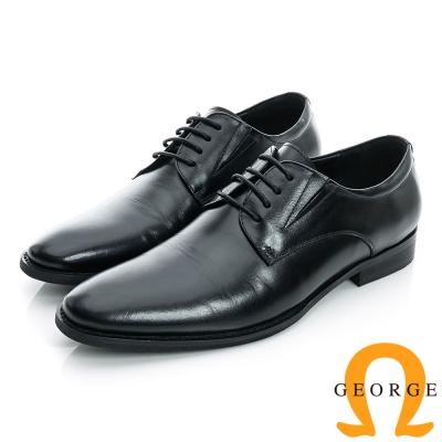 GEORGE-側V切口經典素面綁帶真皮紳士皮鞋-黑色