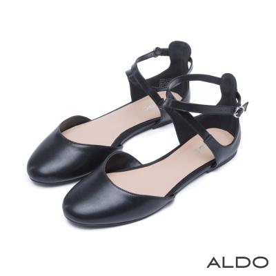 ALDO-浪漫原色鏤空交叉金屬繫帶平底鞋-尊爵黑色