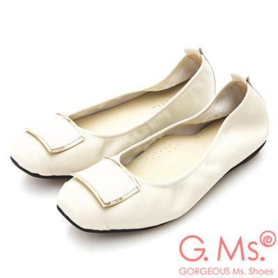 G.Ms. MIT系列-方頭飾釦牛皮娃娃鞋-米白