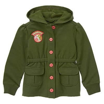 【Gymboree】 140112686軍綠好朋友長袖連帽外套(4-6Y)