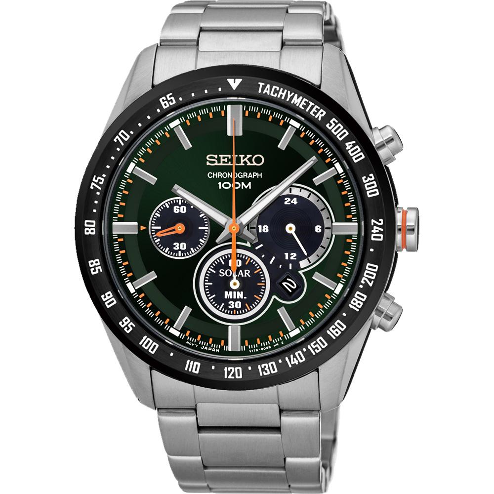 SEIKO Criteria 極速風暴太陽能計時碼錶(SSC469P1)-綠x銀/42mm