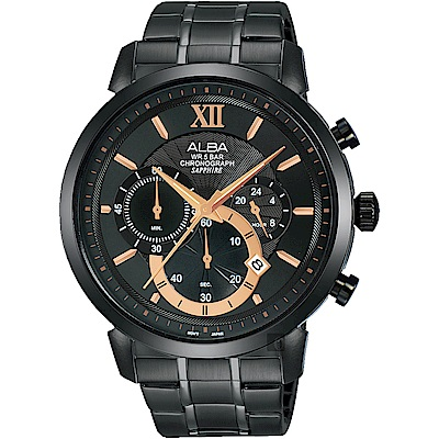 ALBA雅柏 Prestige 情人限定計時手錶(AT3D23X1)-黑/44mm