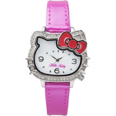 HELLO KITTY 凱蒂貓璀璨晶鑽蝴蝶結手錶-桃紅x白/35mm