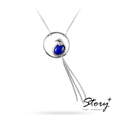 STORY故事銀飾-幸福青鳥-台灣藍鵲-青金石項鍊