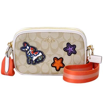 COACH淺卡C Logo彩兔星號徽章雙層手抓/斜背小包