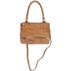 (無卡分期12期) GIVENCHY Pandora 綿羊皮鞣製兩用提包(小/棕色)