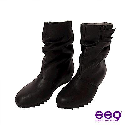 ee9簡約抓皺魔術貼內增高羊皮中筒靴-俐落黑