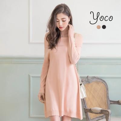 東京著衣-yoco 高雅氣質一字領針織洋裝-S.M(共二色)