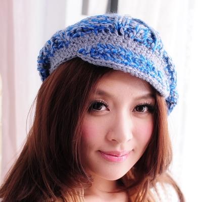 Aimee Toff 雙色美織小帽沿暖冬毛帽(藍)