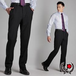 極品西服-正式簡約‧混紡羊毛平面西裝褲_黑底藍條(BS311-1)