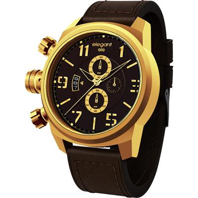 elegantsis Army 叢林戰鬥強悍三眼計時腕錶-咖x黑x金/42mm