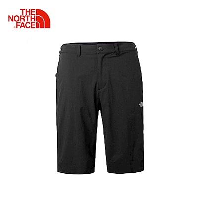 The North Face北面男款黑色防潑水戶外徒步短褲
