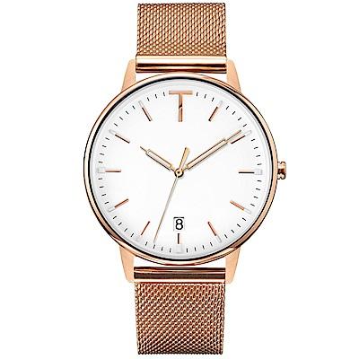 TYLOR 簡約質感米蘭帶手錶-白X玫瑰金/38mm