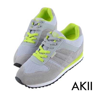 AKII韓國空運‧玩色系列內增高休閒運動鞋-灰色