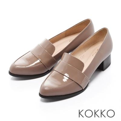KOKKO-經典尖頭粗跟紳士樂福鞋-可可