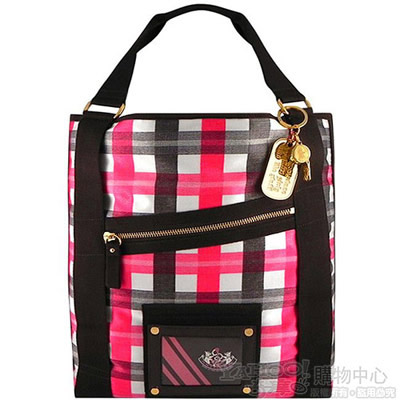 JUICY COUTURE 高質感輕量蘇格蘭紋托特包【超大型】