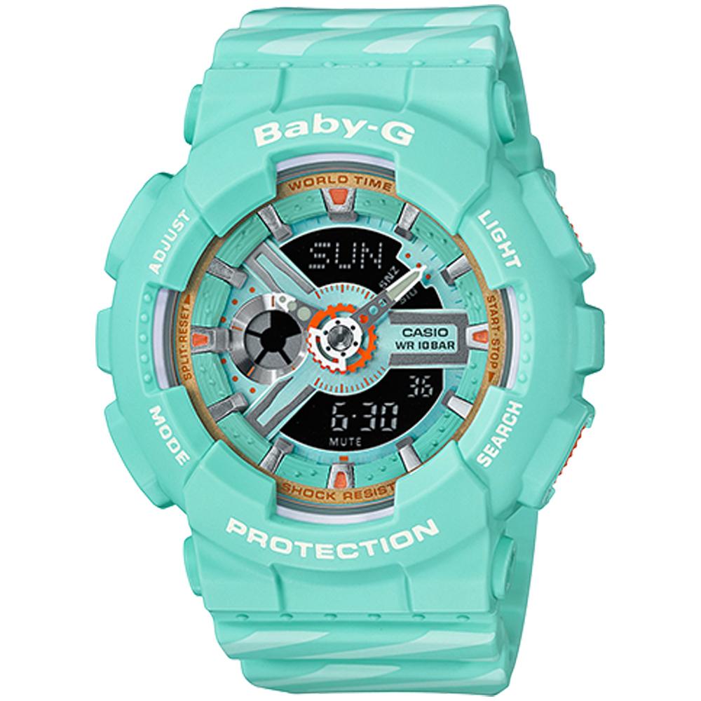 Baby-G Chance系列線條彩繪運動錶(BA-110CH-3A)綠/43.4mm