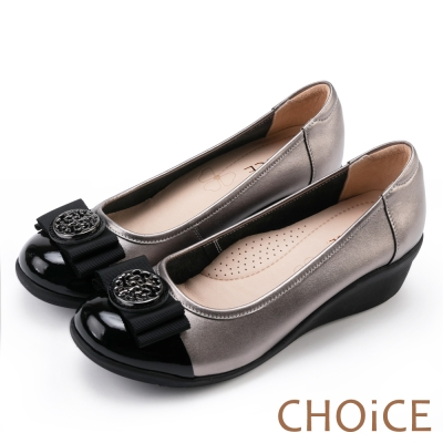CHOiCE 舒適甜美 織帶蝴蝶飾釦牛皮娃娃鞋-灰色