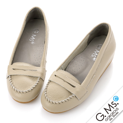 【G.Ms.】Q彈新主張‧簡約莫卡辛真皮內增高豆豆鞋‧可可灰