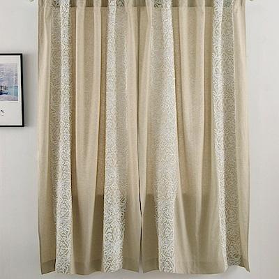 伊美居 - 亞麻刺繡單層半腰窗簾 - 單片130x165cm (共2片)
