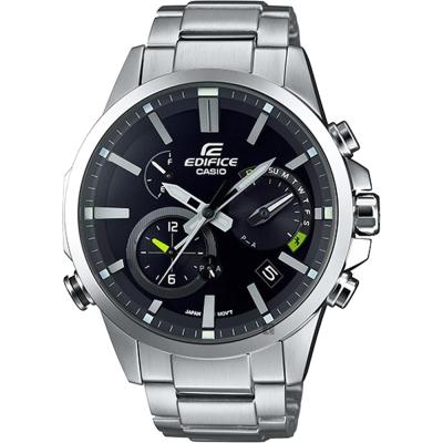CASIO 卡西歐 EDIFICE 藍牙智慧太陽能手錶-黑/52.1mm