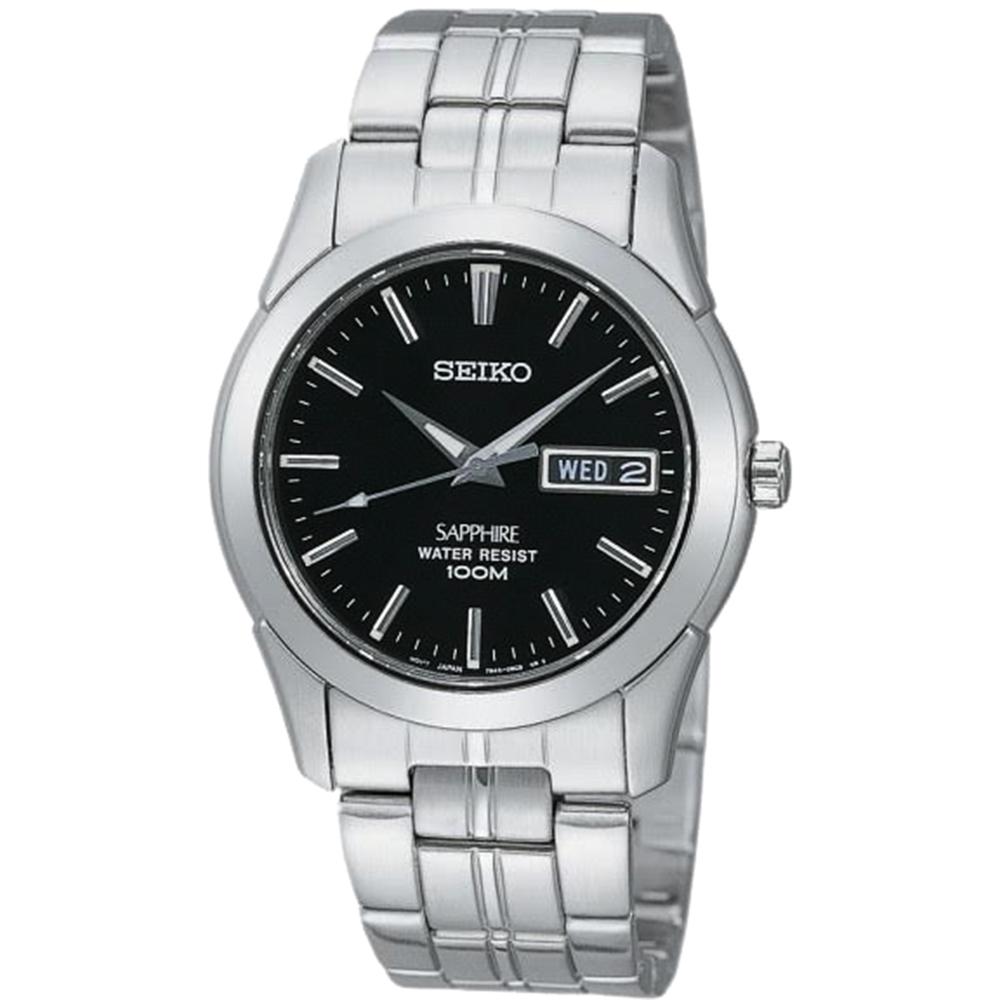 SEIKO 經典藍寶石水晶鏡面鋼帶錶(SGG715J1)-黑