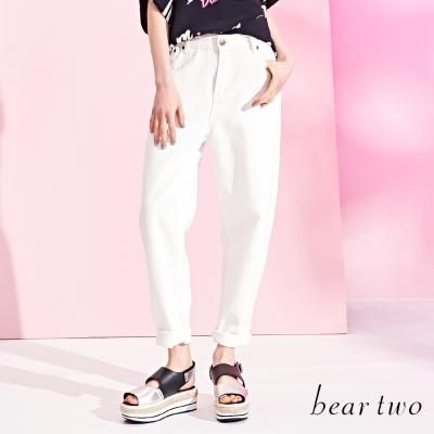 beartwo低腰版型男友牛仔褲-白色