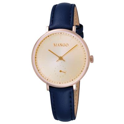 MANGO 簡約皮革時尚腕錶-MA6722L-RG