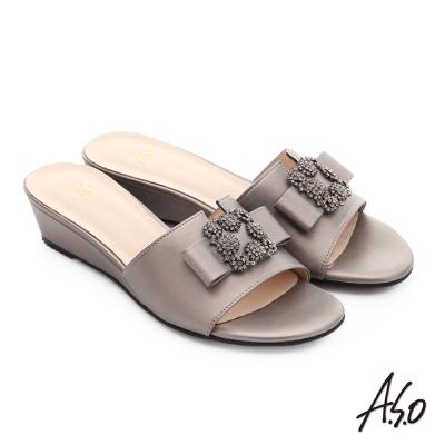 A.S.O 星光注目 珠光真皮花形水鑽楔型涼拖鞋 淺灰色