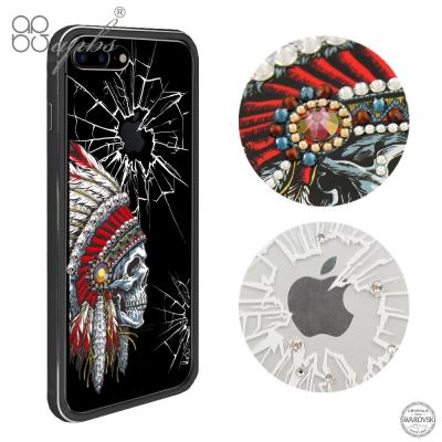 apbs iPhone8/7 Plus 5.5吋施華彩鑽鋁合金屬框手機殼-消光黑酋長