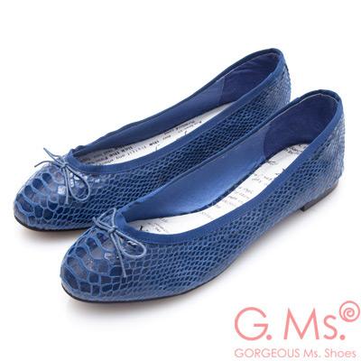 G.Ms. 蛇紋羊皮蝴蝶結芭蕾娃娃平底鞋~寶藍