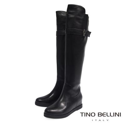 Tino Bellini 中性俐落前高後低輪廓內增高及膝靴_黑