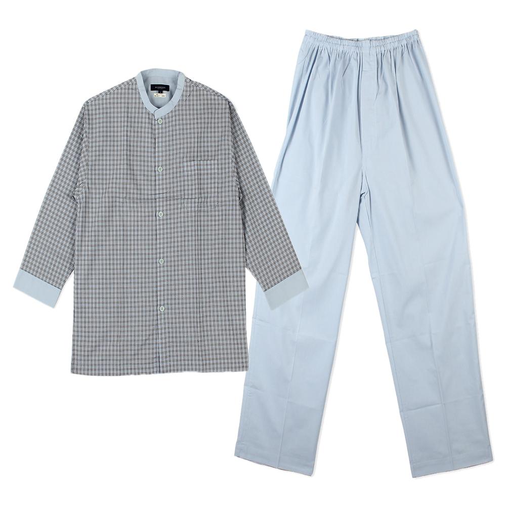 BURBERRY經典細格紋休閒居家服套組-淺灰色