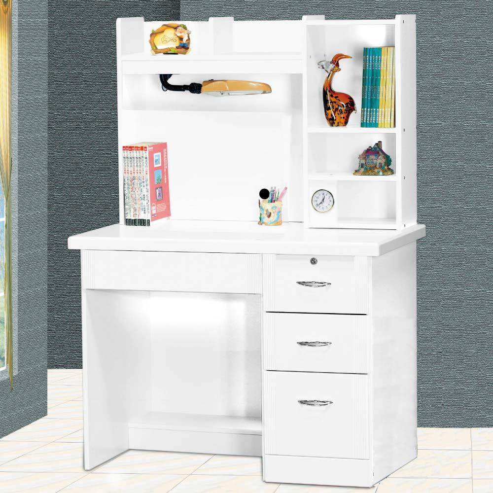 品家居 珍鑽3.5尺白色書桌組合-105.5x59.5x146.5cm-免組
