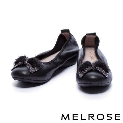 娃娃鞋 MELROSE 閃爍蝴蝶結貂毛球鑽帶點綴超軟Q全真皮厚底娃娃鞋-黑