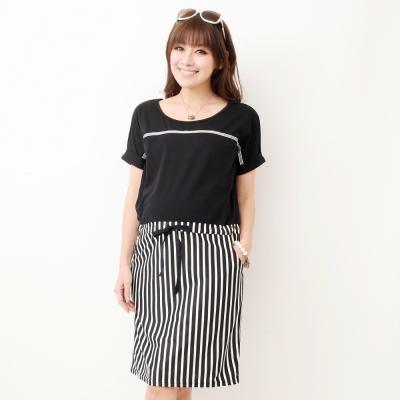 Keep-Chic孕婦裝-韓版純色直條縮腰洋裝