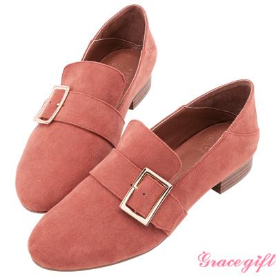 Grace gift-2way方釦條帶低跟樂福鞋 磚紅