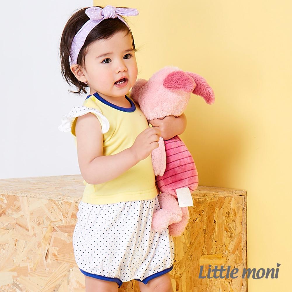 Little moni 甜美女孩拼接點點連身褲 黃色