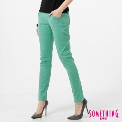 SOMETHING 簡約激瘦窄管彩色牛仔褲-女-綠色