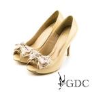GDC-璀璨亮面蝴蝶結鑽飾魚口高跟鞋(婚鞋)-杏色